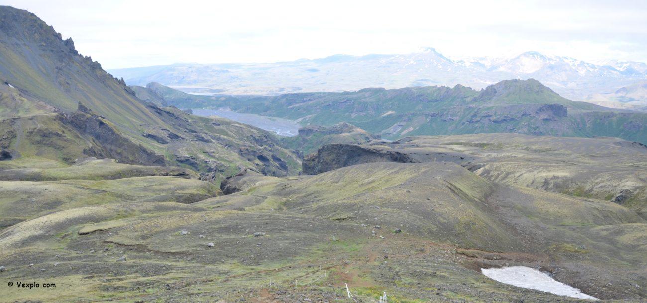 La discesa verso Þórsmörk del sentiero Fimmvðuhàls